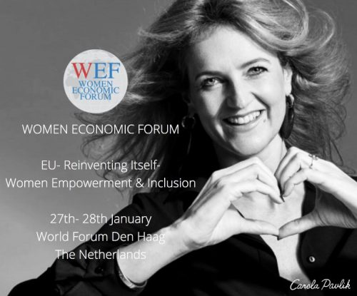 Carola Pavlik speaking on Women Economic Forum The Hague